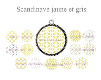 Scandinavian yellow and grey round cabochon 25mm and 20mm and 18mm digital collage sheet