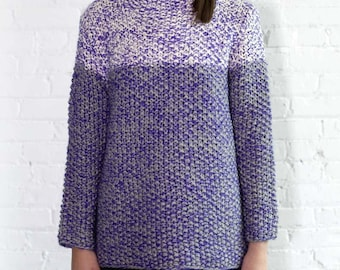 Colorblock Half Turtleneck Handknit Sweater