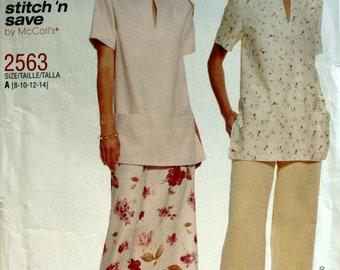 Misses Skirt Sewing Pattern - Misses Pants Sewing Pattern - Misses Top Sewing Pattern - McCall's 2563 - New  - Uncut - Size 8 - 10 - 12 - 14