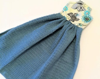 Blue Kitchen Towel, Slate Blue Hanging Towel, Turquoise Decor, Flowers and Butterflies, Button Top Towel, Fabric Top, Kitchen Tea Towel