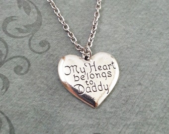 My Heart Belongs to Daddy Necklace, SMALL Heart Pendant Necklace, Gift for Daughter, Valentine's Jewelry, Heart Necklace, Daughter Necklace