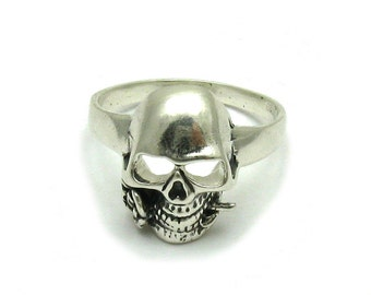 Sterling silver ring solid 925 skull with rose biker pendant