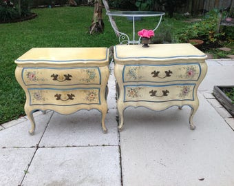 "FRENCH PROVINCIAL NIGHTSTANDS / Pair of Shabby Chic Solid Wood Nightstands 26"" x 16 1/2"" x24"" tall /Bombe Shabby Chic Style Retro Daisy Girl"