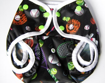 One Size Diaper Cover, Sport Theme Front Snap Gusseted Diaper Cover with Optional Tuck in Facings, PUL Cover for Boy or Girl, Baby Athlete