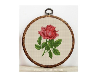 Rose-Cross Stitch Pattern-Modern Sampler-Pdf-Instant Download
