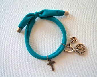 Turquoise bracelet with a silver metal bicycle, baptism, gift, 25 pcs