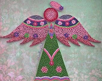 Angel Love - Paper Quilling Wall art - Original Paper Art- Quilled Angel