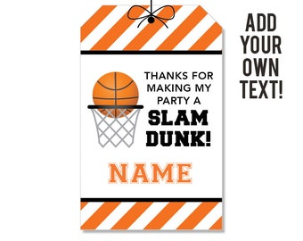 EDITABLE INSTANT DOWNLOAD Basketball Party Favor Tags - Editable, printable basketball birthday party favor tags