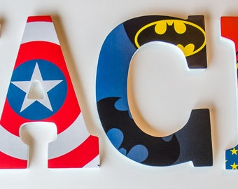 Superhero Wooden Letters, Boy or Girl Bedroom