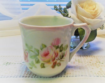 Antique Bavarian Mug (Shaving Mug?) White Embossed Cup Pink Roses Signed Clairon