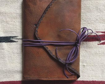 Leather Journal, Tooled Leather Journal, Nature  Journal