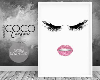 Fashion wall art beauty print pink gold wall art fashion illustration salon wall decor lipstick print lashes wall art pink girl room decor