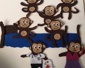 Five Little Monkeys Jumping on the Bed - Children's Felt Story
