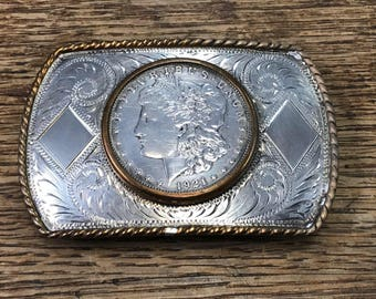Comstock Silversmiths Morgan Silver Dollar Sterling Silver Belt Buckle