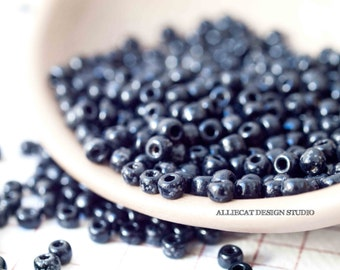 10g Black 8/0 Vintage Venetian Seed Beads (SB078)