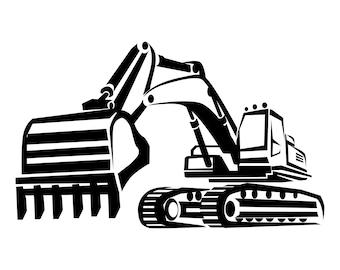 Excavator, SVG,Graphics,Illustration,Vector,Logo,Digital,Clipart