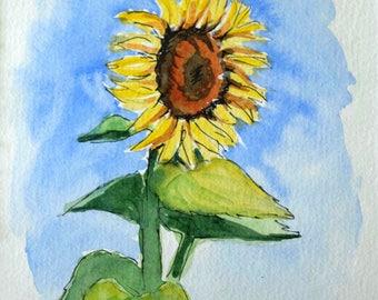 Sunflower Watercolor Painting Art/Original Sunflower Art/Hand-Painted Sunflower/Original Artwork/Original Watercolor - 6x8 in