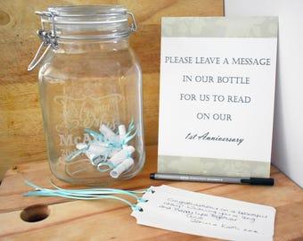 Personalised Wedding Mr & Mrs Kilner Jar Message in a bottle Guest Book Kit