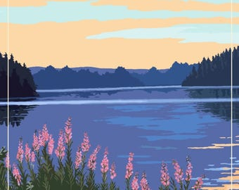 North Carolina - Canoe & Lake - Lantern Press Artwork (Art Print - Multiple Sizes Available)