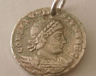 Genuine SOLID 925 STERLING SILVER Ancient Roman Coin charm/pendant