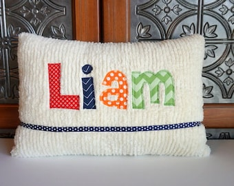 Your Name Baby Boy Name Pillow, Personalized Nursery Pillow, Baby Boy Shower Gift, New Baby Gift, Baby Boy Birth Announcement, Liam, Gavin