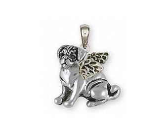 Pug Jewelry Sterling Silver Pug Pendant Handmade Dog Jewelry PG45-AP