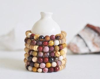 Bracelet / Mookaite + Natural Coconut Shell Bracelet / Multi-Color Jasper /  KO-MALA Mala / Healing Crystals / Ready to Ship / Blacktop