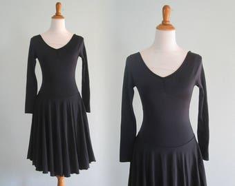Vintage Leotard Dress - Sleek 80s Black Leotard Dress by Capezio - Vintage Capezio Dress - Vintage 1980s Dress S
