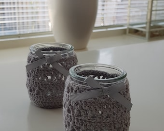Crocheted Glass Candle Holders