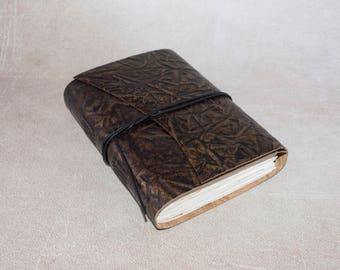 Brown embossed leather journal sketchbook, unique notebook A6 travel journal