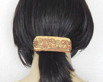 Gold multi  hair barrette,embroidered barrette, floral barrette, fabric barrette, hair accessory, fashion accessory