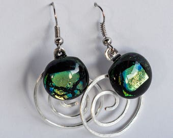 Irridescent green dichroic glass, drop earrings with hammered silver wire spirals! Elegant. Chandelier. Dangle. #163