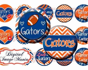 INSTANT Download GATORS 4x6 Digital Printable 1 Inch Circle Bottle Cap Images (101)
