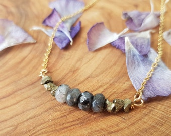Pyrite  and Labradorite necklace, Free Shipping, Gemstone Bar Necklace, Gift for mom, Healing Crystal Jewelry, BF gift, Best friend necklace