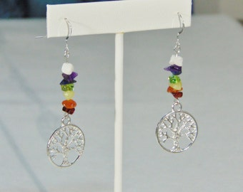 Tree of Life Chakra Rainbow Sterling Silver Earrings