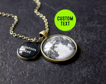 Bronze Custom Text Full Moon Necklace - Custom Glass Dome Full Moon Phase Double Necklace Quote Pendant Charm