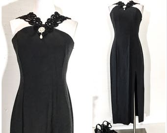 90s Clothing 90s Vintage Clothing BLACK PARTY DRESS Vintage Formal Dress Vintage Formal Maxi Dress Black Evening Dress Vintage Evening Dress