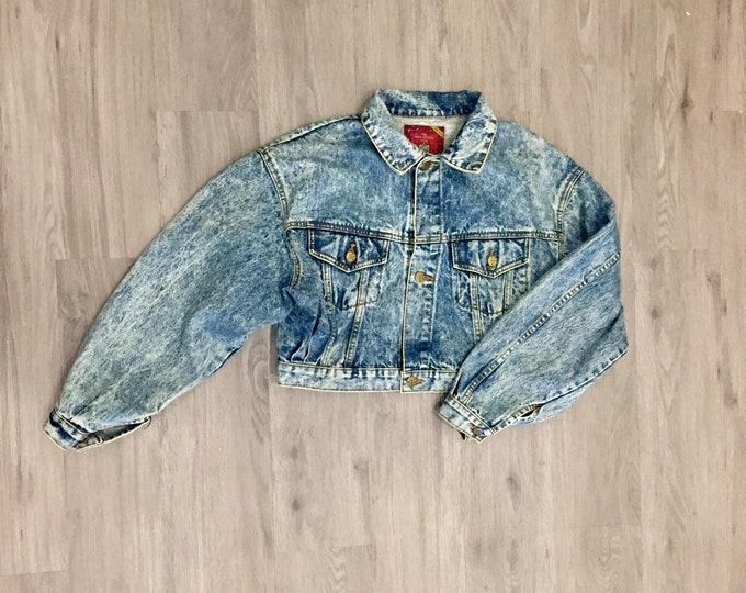 80s Acid Wash Cropped Denim Jacket