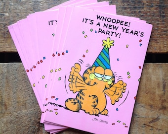 Vintage New Year's Eve Party Invitations - Set of 10 - NYE Invitations, Vintage Garfield, Garfield Cards, Vintage Party Cards, Vintage NYE