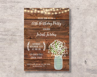 Sixty bday invite etsy rustic 60th birthday invitation printable mason jar 60 birthday party woman invite sixty bday celebration instant download editable pdf stopboris Choice Image