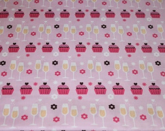 02957 - 1/2 yard of David Textiles - Wedding Toast in Pink and Brown
