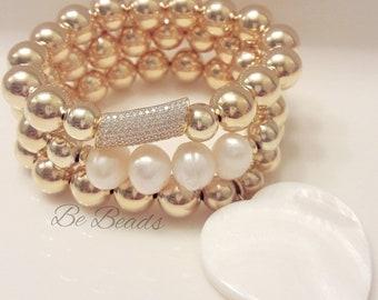 Mother of Pearl Gold Filled Beaded Bracelet Set (set of 3)