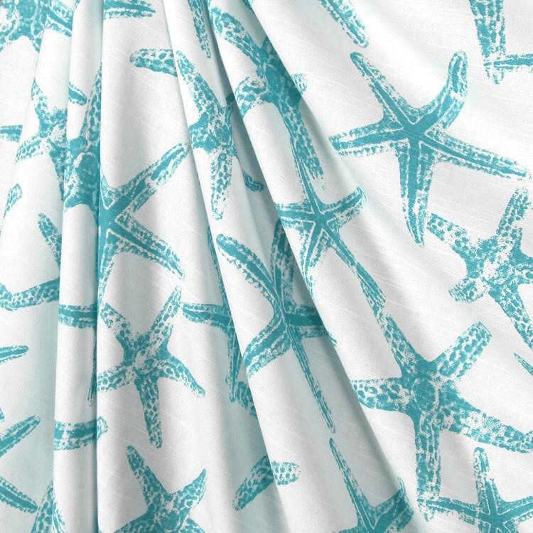 Shower Curtain Ocean Blue Starfish Aqua Blue Starfish Shower