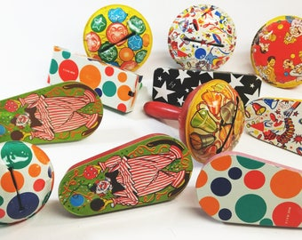 Lot of Colorful Vintage Tin Noise Makers