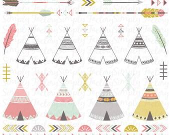 Tipi tribal pack «TRIBAL CLIP ART», tipis, tentes, plumes, flèches, aztèque, frontières, clipart indien, Navaho, Native, mariage. Tribal004