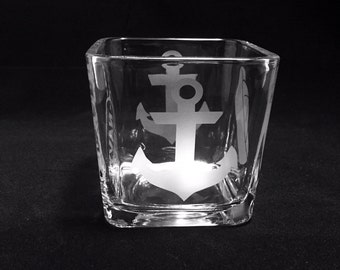 Navy Candle Holder, Anchor, Navy Mom, Nautical Candle Holder, Etched, Blue Candle, Square Candle Holder