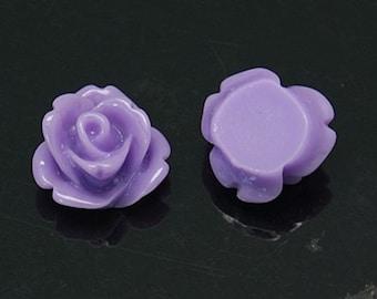 Lavender Resin Rose Cabochons 10mm
