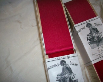 """1 yd. Very old Silk Velvet Ribbon French Old Store Stock in """"Cerise"""" 2 1/4"""" Wide Yardage Available"""
