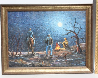 Vintage Cowboy Campfire Painting Southwestern Western Original Art Framed On Canvas Theme Decor