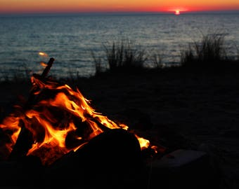 Bonfire and sunset Photography seascape Wall decor Home design Nature Photo Fire Print Interior design Beach and sea Large photography